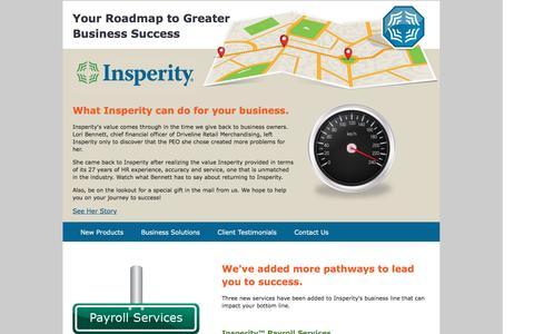 Screenshot of Landing Page insperity.com captured April 14, 2016