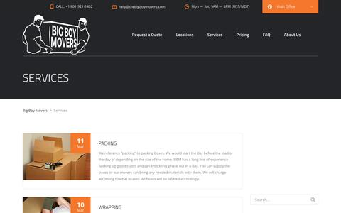 Screenshot of Services Page thebigboymovers.com - Services Archive - Big Boy Movers - captured Oct. 5, 2018
