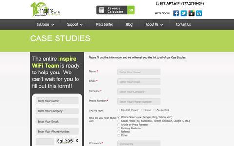 Screenshot of Case Studies Page inspirewifi.com - Case Studies | Inspire WiFi - captured Sept. 19, 2018