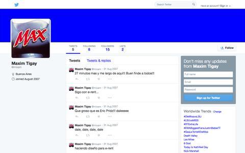 Screenshot of Twitter Page twitter.com - Maxim Tigay (@mixam)   Twitter - captured Oct. 26, 2014