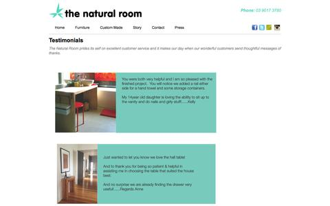 Screenshot of Testimonials Page thenaturalroom.com.au - Testimonials  | The Natural Room - captured Oct. 29, 2014