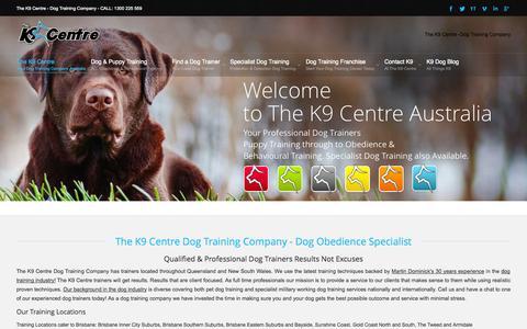 Screenshot of Home Page k9centre.com.au - Dog Training Brisbane, Sunshine Coast, Gold Coast - The K9 Centre Dog Training Company - captured Oct. 8, 2014
