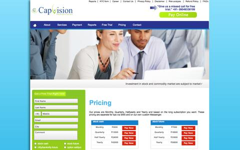Screenshot of Pricing Page capvision.co.in - Best Commodity Tips, best stock Tips, Best Intraday Tips, BSE Tips - captured Oct. 1, 2014