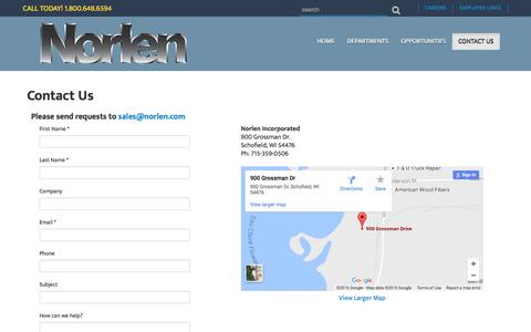 Screenshot of Contact Page norlen.com - Contact Us - captured Nov. 30, 2016