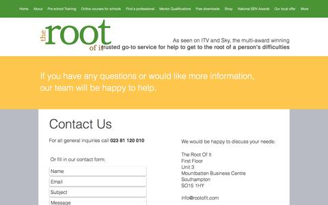 Screenshot of Contact Page rootofit.com - Contact The Root Of It - captured Oct. 23, 2017