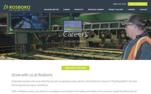 Screenshot of Jobs Page rosboro.com - Rosboro - Building Better Glulam and Engineered Wood Product Teams - captured Sept. 21, 2018