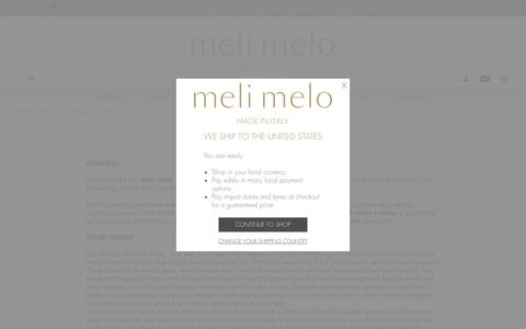 Screenshot of Terms Page melimelo.com - Terms & conditions | meli melo - captured Oct. 29, 2017