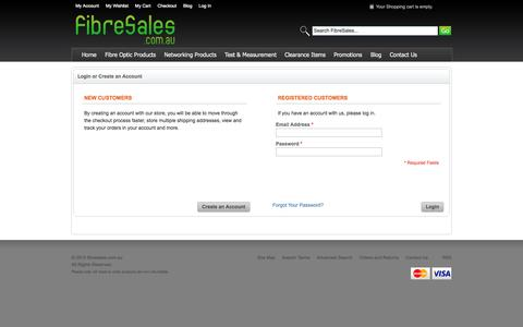 Screenshot of Login Page fibresales.com.au - Customer Login - captured Oct. 29, 2014