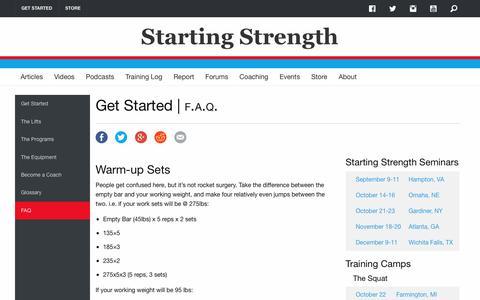 Screenshot of FAQ Page startingstrength.com - Starting Strength FAQ - captured Aug. 31, 2016