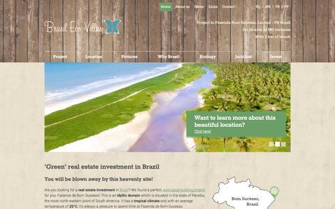 Screenshot of Home Page brasilecovillas.com - 'Green' real estate investment in Brazil | BrasilEcoVillas - captured Sept. 30, 2014