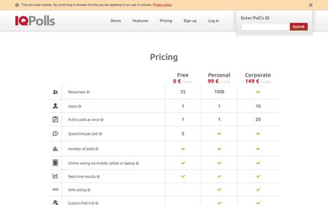 Screenshot of Pricing Page iqpolls.com - IQ Polls - Pricing - captured July 22, 2016