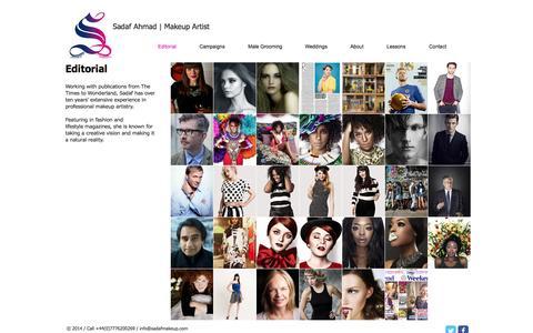 Screenshot of Home Page sadafmakeup.com - Sadaf Makeup Artist - captured Oct. 4, 2014