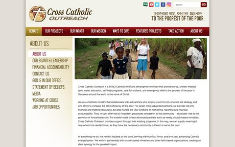 Screenshot of About Page crosscatholic.org - About Us (About Us) - captured Sept. 15, 2017