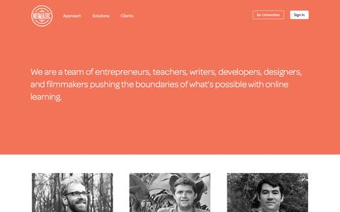 Screenshot of About Page nomadic.fm - Nomadic Learning: Enterprise Learning that Works - captured Feb. 15, 2016
