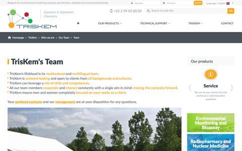 Screenshot of Team Page triskem-international.com - TrisKem International - Reagents for environmental monitoring, bioassay, geochemistry, radiopharmacy and decommissioning - captured Sept. 30, 2018