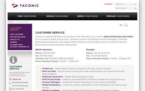 Screenshot of Support Page taconic.com - Customer Service | Taconic Biosciences, Inc. - captured Jan. 10, 2016