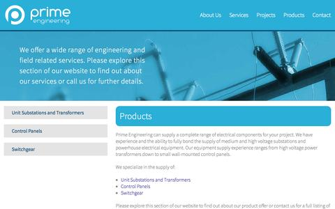 Screenshot of Products Page primeeng.ca captured Oct. 3, 2014
