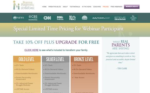 Screenshot of Pricing Page positiveparentingsolutions.com - Special Limited Time Pricing for Webinar Participant - Positive Parenting Solutions Positive Parenting Solutions - captured Sept. 23, 2018