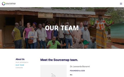 Screenshot of Team Page sourcemap.com - Our Team — Supply Chain Mapping - captured March 12, 2018