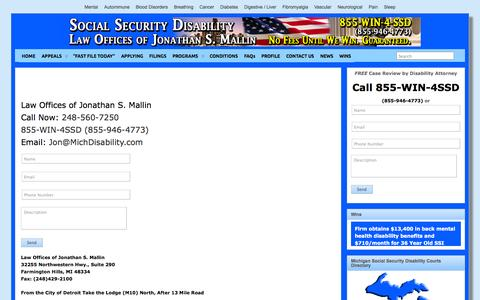 Screenshot of Contact Page michdisability.com - CONTACT US » Law Offices of Jonathan S. Mallin - captured Oct. 27, 2014