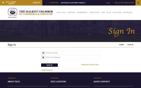 Screenshot of Login Page scci.com.pk - THE SIALKOT CHAMBER OF COMMERCE & INDUSTRY - captured Sept. 26, 2018