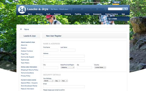 Screenshot of Signup Page ljoutdoors.com - Register | Laacke & Joys - captured Oct. 1, 2014