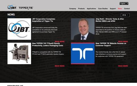 Screenshot of Press Page tippertie.com - Latest Company  News - captured Dec. 11, 2016