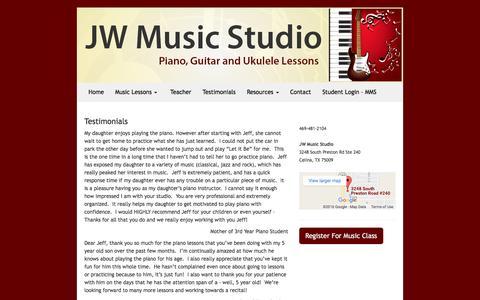 Screenshot of Testimonials Page jwmstudio.com - Testimonials - JW Music Studio - captured Nov. 26, 2016