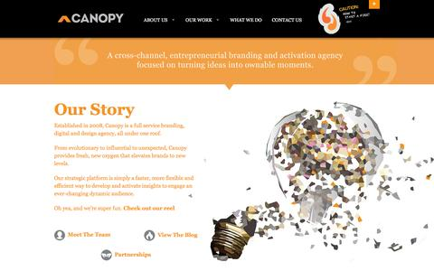 Screenshot of About Page canopybrandgroup.com - Our Story | Canopy: Brand Strategy, Design & Digital - captured July 11, 2016