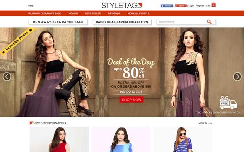 Screenshot of Home Page styletag.com - Online Shopping Discounts On Designer Dresses For Men & Women | Buy Handbags, Footwear, Accessories & More - Styletag - captured Aug. 21, 2016