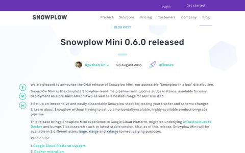 Screenshot of Blog snowplowanalytics.com - Snowplow Mini 0.6.0 released - captured Feb. 10, 2020