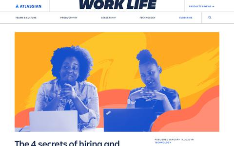 Screenshot of Developers Page atlassian.com - The 4 secrets of hiring and retaining the best junior developers - Work Life by Atlassian - captured Feb. 8, 2020