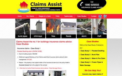 Screenshot of Case Studies Page claimsassist.net - Claims Assist insurance claims case studies | burglary insurance claims advice | contents insurance claims advice | buildings insurance claims advice | building insurance claims advice | house insurance claims advice - captured July 9, 2016