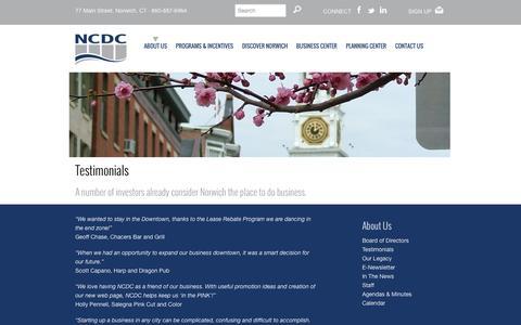 Screenshot of Testimonials Page askncdc.com - Testimonials   NCDC   Norwich Community Development Corporation   Norwich, (CT) Connecticut - captured Oct. 7, 2014