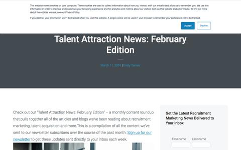 Screenshot of Press Page recruitics.com - Talent Attraction News: February Edition - captured Jan. 8, 2020
