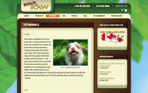 Screenshot of Testimonials Page boldraw.com - Testimonials - Bold Raw - captured Oct. 5, 2014
