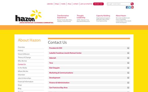 Screenshot of Contact Page hazon.org - Contact Us - Hazon - captured Sept. 25, 2014