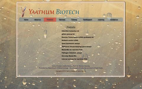 Screenshot of Products Page yaathumbiotech.com - Yaathum Biotech - Products - captured Oct. 4, 2014