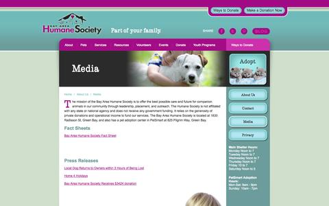 Screenshot of Press Page bayareahumanesociety.com - About Us | Media | Bay Area Humane Society - captured Sept. 30, 2014