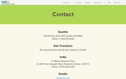 Screenshot of Contact Page indix.com - Indix | Contact Us - captured July 21, 2014