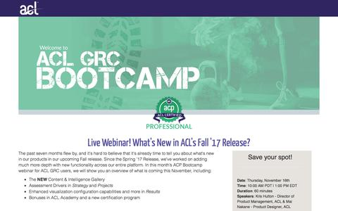 Screenshot of Landing Page acl.com - What's New in ACL's Fall '17 Release? - captured Oct. 28, 2017