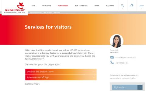 Screenshot of Services Page spielwarenmesse.de - Spielwarenmesse:Visitor services - captured Sept. 28, 2018