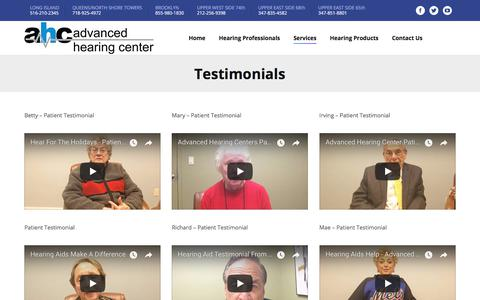 Screenshot of Testimonials Page audiologistny.com - Testimonials - Audiologist & Hearing Loss Treatment Nassau County, NY | Queens, NY | Advanced Hearing Center - captured Oct. 7, 2017