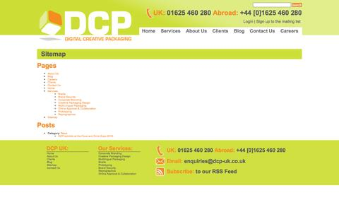 Screenshot of Site Map Page dcp-uk.co.uk - Sitemap | Digital Creative Packaging - captured Oct. 5, 2014