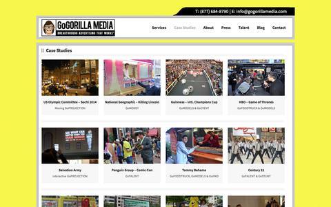 Screenshot of Case Studies Page gogorillamedia.com - Guerilla Advertising |GoGORILLA Media - captured June 19, 2017