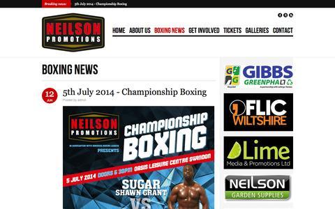 Screenshot of Blog neilsonpromotions.co.uk - Boxing News | Neilson Promotions - captured Oct. 26, 2014