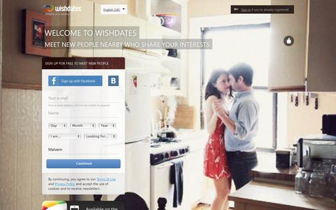 Screenshot of Home Page wishdates.com - Search for new people | Wishdates - captured Sept. 12, 2014