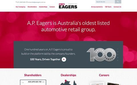 Screenshot of Home Page apeagers.com.au - A.P. Eagers Limited | Automotive Group | Australia - captured Oct. 4, 2014