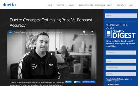 Screenshot of Pricing Page duettocloud.com - Duetto Concepts: Optimizing price vs. forecast accuracy - captured Jan. 6, 2020