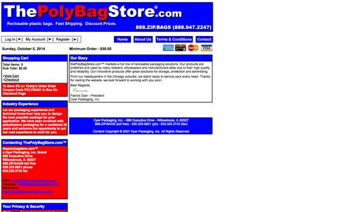 Screenshot of About Page thepolybagstore.com - thepolybagstore.com™ - captured Oct. 5, 2014